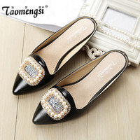 Wholesale Leather Sandals Pearls - Wholesale-2016 fashion Luxurious flat Sandals Casual women sandal ladies flat shoes Crystal Pearls Slippers