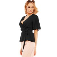 Gothic Women's Deep V-neck Chiffon Blusa Pin Up Flare Sleeve Sexy Short Sleeve Verão Preto Lace Up Casual Top T-shirt Blusa