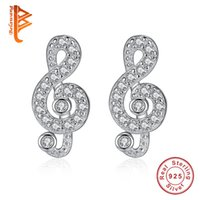 Wholesale Musical Treble Clef - BELAWANG Trendy Jewelry Gift 925 Sterling Sliver Stud Earrings For Women Small Treble Clef Musical Notes Sign Clear CZ Charm Earrings