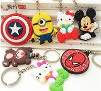 Wholesale keychain phone finder resale online - 20 Models Phone Accessories Cartoon Rings Trinket Soft PVC Keychain Marines Key Holder Key Chains Finder Souvenirs Gift