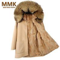 Wholesale Rex Rabbit Fur Vest - MAO MAO KONG 2017 New Winter Parka Wool Cashmere Coat Women Fur Jacket Overcoat Collar Hooded Rex Rabbit Fur liner Top Quality