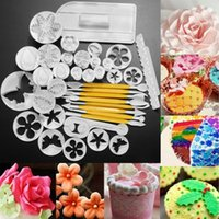 Wholesale Cake Sugar Flowers - Full set Fondant Cake Cookie Sugar Craft Decorating Plunger Flowers Modelling Tools Set DIY Cake Cutters Molds Sugarcraft