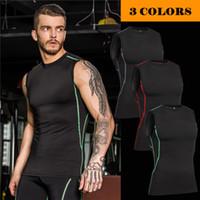 Wholesale Excercise Shirt - Wholesale- mens compression vest tight base layer skin gilet Fitness Excercise vest sleeveless shirts