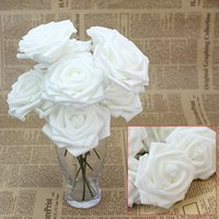 10pcs White Foam Artificial Rose Flowers Floral Handmade Wedding Bridal Bouquet Decor Home Festive Party Decoration