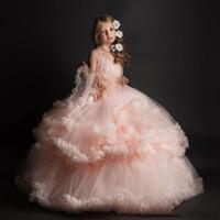 pembe elbiseli bebek kızı toptan satış-Kızlar Düğün Parti Elbiseler Pembe Balo Pembe Güzel Çiçek Kız Elbise 2017 Uzun Tüller Bebek Kız Toddler Pageant Törenlerinde Çocuklar Resmi Giymek