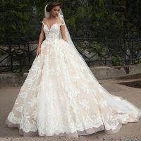 Wholesale Trendy Neck Lines For Dresses - Exquisite Sheer Capped Milla Nova Wedding Dresses 2017 Trendy Lace Tulle Applique vestido de noiva Bridal Gown Ball Church For Bride