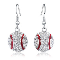 Wholesale Dangling Clear Rhinestone Earrings - Small Cute Teens Clear Rhinestones Baseball Softball Pendant Hook Earring Charm Sports Jewelry For Women And Girls
