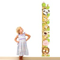 Wholesale Large Funny Glasses - 60*90cm Funny Cartoon Animals Kids Height Growth Charts Wall Stickers DIY Art Decal Removeable Wallpaper Mural Sticker ABC1014