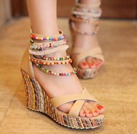 Wholesale Boho Wedges - Women Wedge Heel Bohemian Sandals National Style Beaded Sandals New 2017 Cross Strappy Ladies Ethnic Boho Sandals