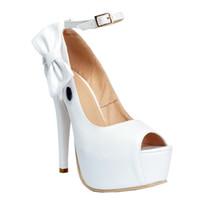 ingrosso tacco della piattaforma della cinghia della caviglia bianca-Zandina Womens Fashion Handmade 14 cm cinturino alla caviglia Farfalla Deco Peep Toe tacco alto pompe pompe bianche XD099