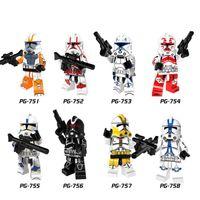 Wholesale Clone Troopers - Building Blocks Minifigures Action Bricks Super Heroes Space War Clone Trooper Kids Christmas Gift DIY Toys 8pcs set PG8078