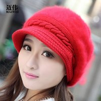 Wholesale Women Winter Beret Hat - cashmere knitted hat Korean type winter women's Beret peaked cap lady rabbit hair hat 004