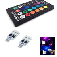 Wholesale Led Smd Strobe Light - 2pcs 5050 SMD RGB LED T10 W5W 194 168 Auto Car Wedge Side Light Multi Color LED Demo Lamp Bulb With Remote Controller Strobe