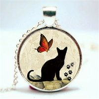 Wholesale Kitty Link - 10PCS Playful Kitty Cat Pendant with Birds and Butterflies Necklace Glass Photo cabochon necklace