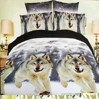 Wholesale Wolf Print Bedding Sets Queen - Wholesale-hot 3d animal bedding set king queen twin size 3 4pcs horse wolf panda duvet cover bed sheet pillow cases boys bedclothes