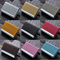 Wholesale Stainless Steel Metal Business Name - 11 Colors Stainless Steel PU Leather Men's Credit Card Holder Women Metal Bank Name Business Card Case Card Box