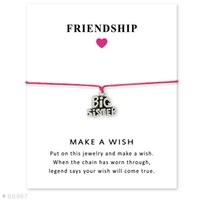 Wholesale Big Sister Silver Charm - Silver Tone Big Sister Middle Sister Charm Little Sister Bracelets & Bangles Gifts For Women Girls Adjustable Friendship Statement Jewelry
