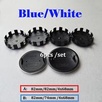 Wholesale bmw x5 kit - Hot selling 6pcs Kit Blue White Wheel Hub Cap Head Hood Logo Badge Trunk Emblem Cover Front Bonnet Emblem Car Wheel cover