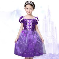 Wholesale Rapunzel Cartoon - Rapunzel princess dress cartoon girl purple rapunzel dresses beauty Tangled dress for party birthday Halloween cosplay princess dress