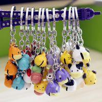 Discount hot cartoon couple - Hot sale New cartoon creative 12 zodiac bell key ring couple pendant cartoon cute key ring KR155 Keychains mix order 20 pieces a lot