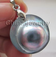 Wholesale Pearl Blister - AAA 22mm natural gray sea water Mabe blister pearl pendant - white GP