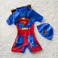 Wholesale Superman Swim Cap - Free Shipping 2017 NEW Children's Suit Conjoined Boxer Swimming Trunks Baby Boy Bathing Suit Swimsuit Superman Take Swimming Cap