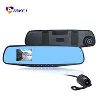 çift araba çizgi kameraları toptan satış-Full HD 1080 P Araba Dvr Ayna Çift Kamera 4.3