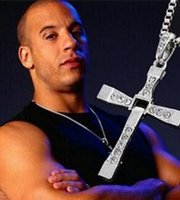 Wholesale fast furious necklaces resale online - Alloy Diamond FAST And FURIOUS Dominic Toretto Cross Pendant Necklace Gold CM High quality Silver plated Necklace for Men Christmas Gift