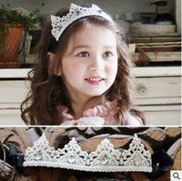 Wholesale Hair For Party Korean - Lace crown headbands for babies girls Korean Fashion Rhinestone Shimmering Lace Children Party Hair Accessories elastic Kids hair bows 7415