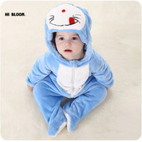 Wholesale Babies Watermelon Costume - New Year Gift Baby Clothing Winter Long Sleeve Infant Onesie Doraemon Kitty Cat Totoro Costumes Soft Baby Jumpsuits Set Rompers