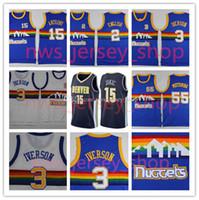 Wholesale Iverson Jerseys - 2017-18 Basketball Jerseys 3 Allen Iverson 15 Carmelo Anthony 2 Alex English Dikem Mutombo New Style Nikola Jokic Cheap Basketball Jerseys