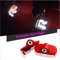 ingrosso lampade a led-2X LED per auto Porta logo Lampada di benvenuto Auto Laser Logo Proiettore Luce per Volkswagen VW Golf 4 Maggiolino Touran Caddy Bora Mk4 R line