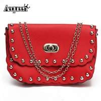 Vente en gros-nouvelles femmes Rivet Shoulder Lock Crossbody Chain Messenger Phone Bag Sac en cuir Mini Lady Clutch Retro Purp Small Falp Hot Sale