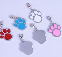 Wholesale Id Keychain Necklace - 2017 New dog paw Alloy Pet Dog Cat ID Card Tags Necklace ornaments Keychain
