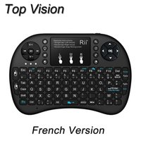 Wholesale Keyboards Azerty - Wholesale-2.4Ghz Rii mini i8+ Wireless French AZERTY Keyboard with TouchPad mouse Backlit gaming Keyboard for HTPC Tablet Mini PC Teclado