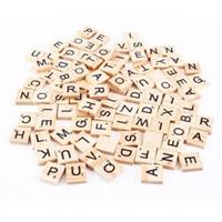 Wholesale Wood Tile Wholesale - 100pcs set Wooden Alphabet Scrabble Tiles Black Letters & Numbers For Crafts Wood