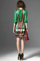 Wholesale Casual Silk Dresses For Women - XAYA Summer casual dresses for womens clothing seven sleeve slim silk green dress printing chiffon plus size dress 1pcs sell free shipping