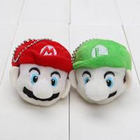 Wholesale Soft Toys Keychain - 2pcs lot 6cm Super Mario Bros Mario & Luigi head Plush Keychain Plush Toy Soft Stuffed Doll pendant