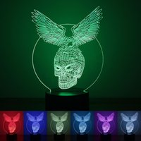 Wholesale Skeleton Table - 3D LED Hawk Human Skeleton Light Night Table Lamp Color Changing Bedroom Decorative New Arrival For Halloween Day 28rm