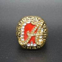 anel de ouro carmesim venda por atacado-Nova Moda Banhado A Ouro Inlay Rhinestone 2009 Alabama Crimson Tide Nacional Campeonato Anel de Réplica para Homens Coleção Presente
