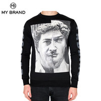 Wholesale Finish Standards - Skull MY BRAND New Autumn Winter Casual Sweatshirts Men Sportswear Cotton Slim Fit TWO FACE SWEATER PRINT FINISHED WITH RHINESTONES