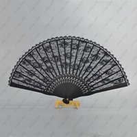 Wholesale Vintage Wedding Hand Fans - 30pcs Spanish Victorian Vintage Hand Fan for Wedding Party Favor Fancy Dress Black Japanese Folding Pocket Fan Dancing Props Free shipping