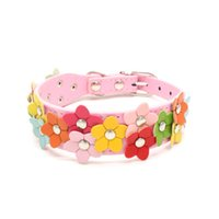 Wholesale Wholesale Pets Drop Shipping - Hot Double Floret Puppy Collar PU Leather Pet Dog Collar Cat Buckle Flower Designer Sweet Neck Strap Pet Supply Drop Shipping