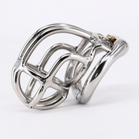 "Wholesale Chastity New - New design Chastity Cage Real Stainless Steel Male Chastity Device 2.1"" Curve Cock Cage with Arc Base Activities Lock Ring"