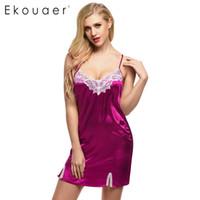 Wholesale ladies nightwear hot - Wholesale- Ekouaer Hot sale Women Nightgown Spaghetti strap Sexy Satin Lace Splicing Nightwear V-Neck Summer Sleepwear Ladies Night Dress