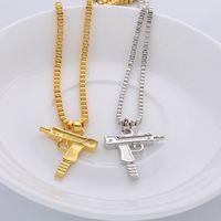 Wholesale Gun Jewelry Charms - Colar pingente Jewelry Hip Hop Dance Charm Gun Pendant SUPREME Necklace Star Jewelry Men Franco Chain Hiphop Golden Necklace