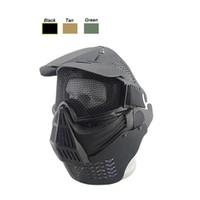 fils du cou achat en gros de-Masque de masque tactique Airsoft plein visage en acier avec treillis métallique en acier de protection du visage de tir avec le déflecteur de cou
