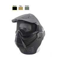 ingrosso maschera tattica in acciaio-Outdoor Airsoft Shooting Face Protection Gear Metal Steel Wire Mesh Full Face Tactical Airsoft Mask con collo deflettore