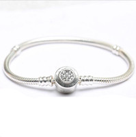 Wholesale Gifts Sets For Children - Drop Shipping real 925 silver Bracelets Snake Chain Fit Luxury Brand Charm Beads for pandora Bangle Logo Bracelet Women Children Gift