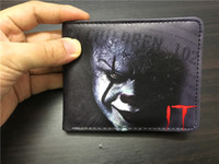 Wholesale Young Ladies Dresses - New movie IT Pennywise Clown Stephen King 1990 2017 Horror Movie Fashion Cartoon Pattern Printing Comics Wallet Young Men Boys PVC Money Ba